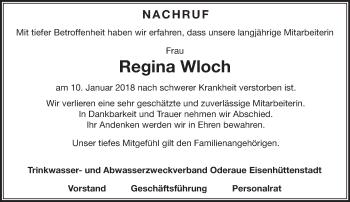 Traueranzeige Regina Wloch
