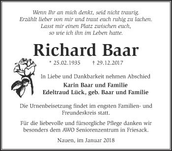 Traueranzeige Richard Baar