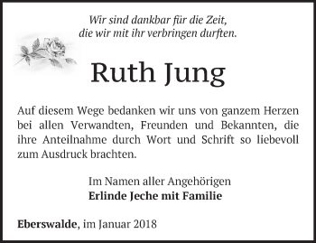 Traueranzeige Ruth Jung