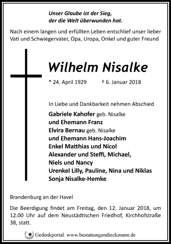 Traueranzeige Wilhelm Nisalke