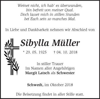 Traueranzeige ALSibylla Müller