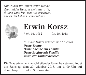 Traueranzeige Erwin Korsz
