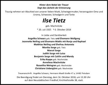 Traueranzeige Ilse Tietz