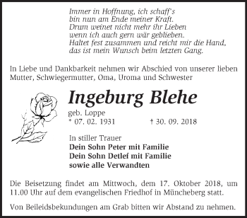 Traueranzeige Ingeburg Blehe