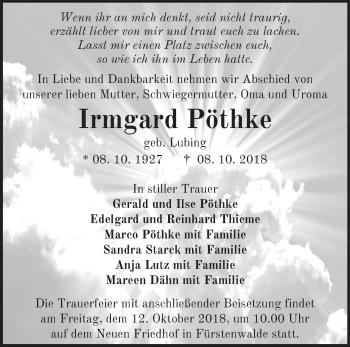 Traueranzeige Irmgard Pöthke