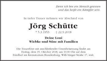 Traueranzeige Jörg Schütte