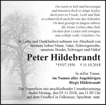 Traueranzeige Peter Hildebrandt