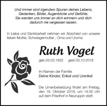 Traueranzeige Ruth Vogel