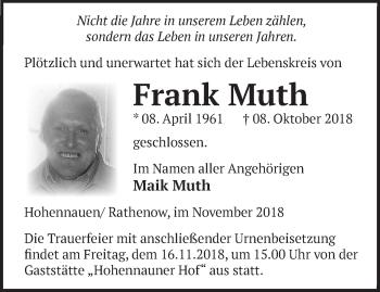 Traueranzeige Frank Muth