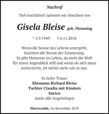 Traueranzeige Gisela Bleise