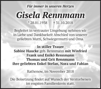 Traueranzeige Gisela Rennmann