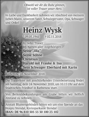 Traueranzeige Heinz Wysk