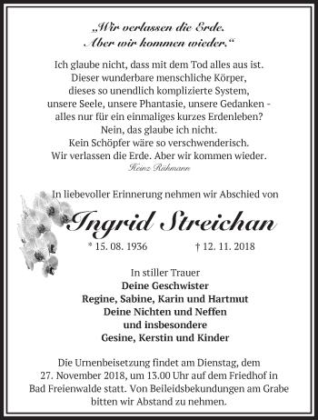 Traueranzeige Ingrid Streichan