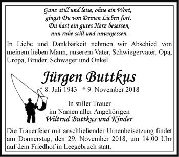 Traueranzeige Jürgen Buttkus