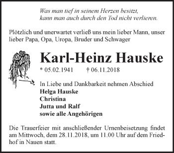 Traueranzeige Karl-Heinz Hauske