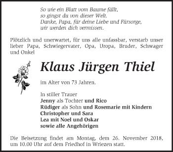 Traueranzeige Klaus Jürgen Thiel
