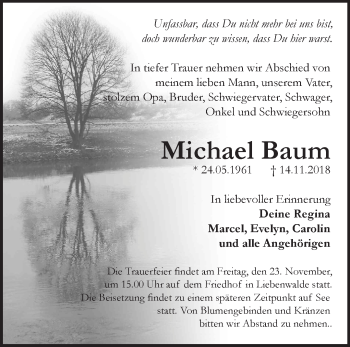 Traueranzeige Michael Baum
