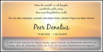 Traueranzeige Peer Donatus
