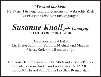 Traueranzeige Susanne Knoll