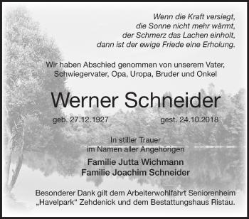 Traueranzeige Werner Schneider