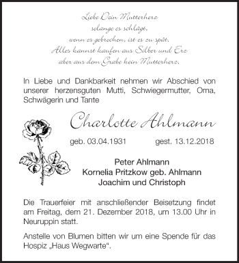 Traueranzeige Charlotte Ahlmann