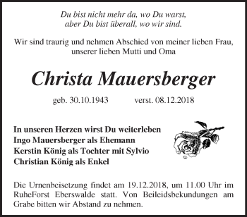 Traueranzeige Christa Mauersberger