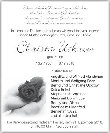 Traueranzeige Christa Uckrow