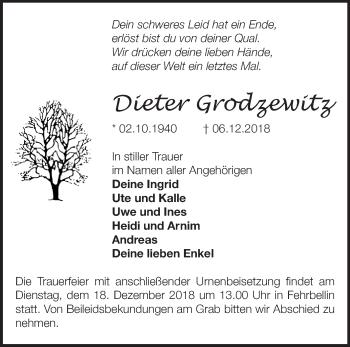 Traueranzeige Dieter Grodzewitz
