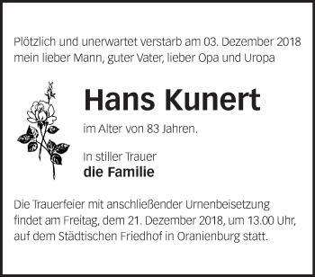 Traueranzeige Hans Kunert