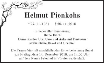 Traueranzeige Helmut Pienkohs