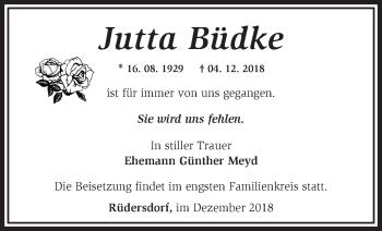 Traueranzeige Jutta Büdke