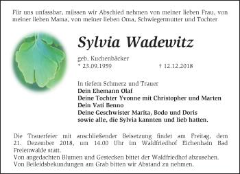 Traueranzeige Sylvia Wadewitz