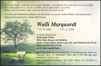 Traueranzeige Walli Marquardt