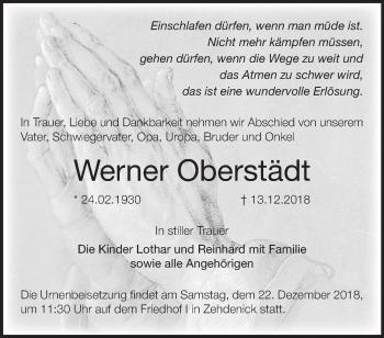 Traueranzeige Werner Oberstädt