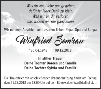Traueranzeige Winfried Semrau