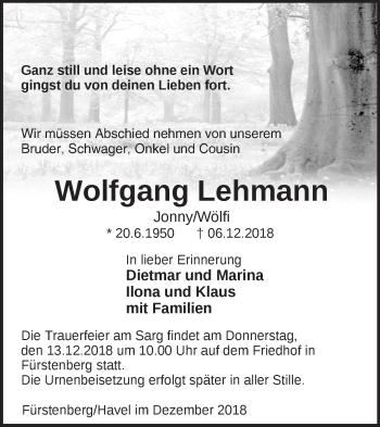 Traueranzeige Wolfgang Lehmann