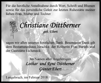 Traueranzeige Christiane Dittberner