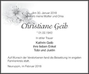 Traueranzeige Christiane Geib