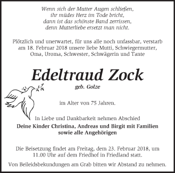 Traueranzeige Edeltraud Zock