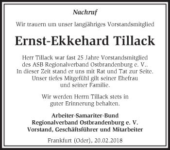 Traueranzeige Ernst-Ekkehard Tillack
