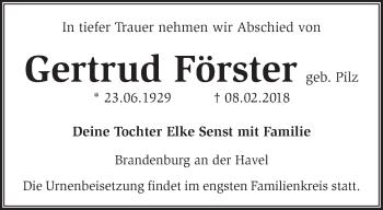 Traueranzeige Gertrud Förster