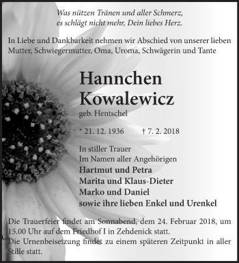 Traueranzeige Hannchen Kowalewicz
