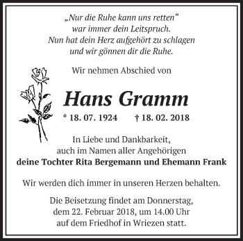 Traueranzeige Hans Gramm