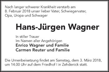 Traueranzeige Hans-Jürgen Wagner