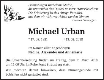 Traueranzeige Michael Urban