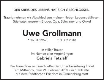 Traueranzeige Uwe Grollmann