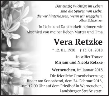 Traueranzeige Vera Retzke