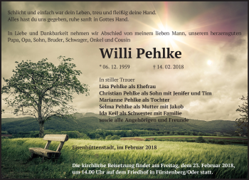 Traueranzeige Willi Pehlke