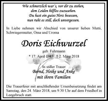 Traueranzeige Doris Eichwurzel