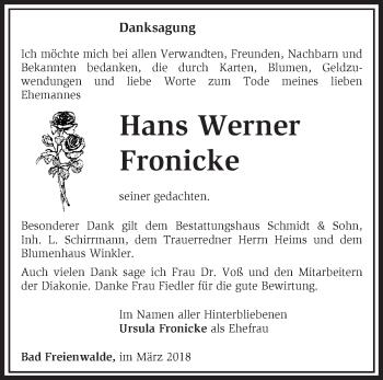 Traueranzeige Hans Werner Fronicke